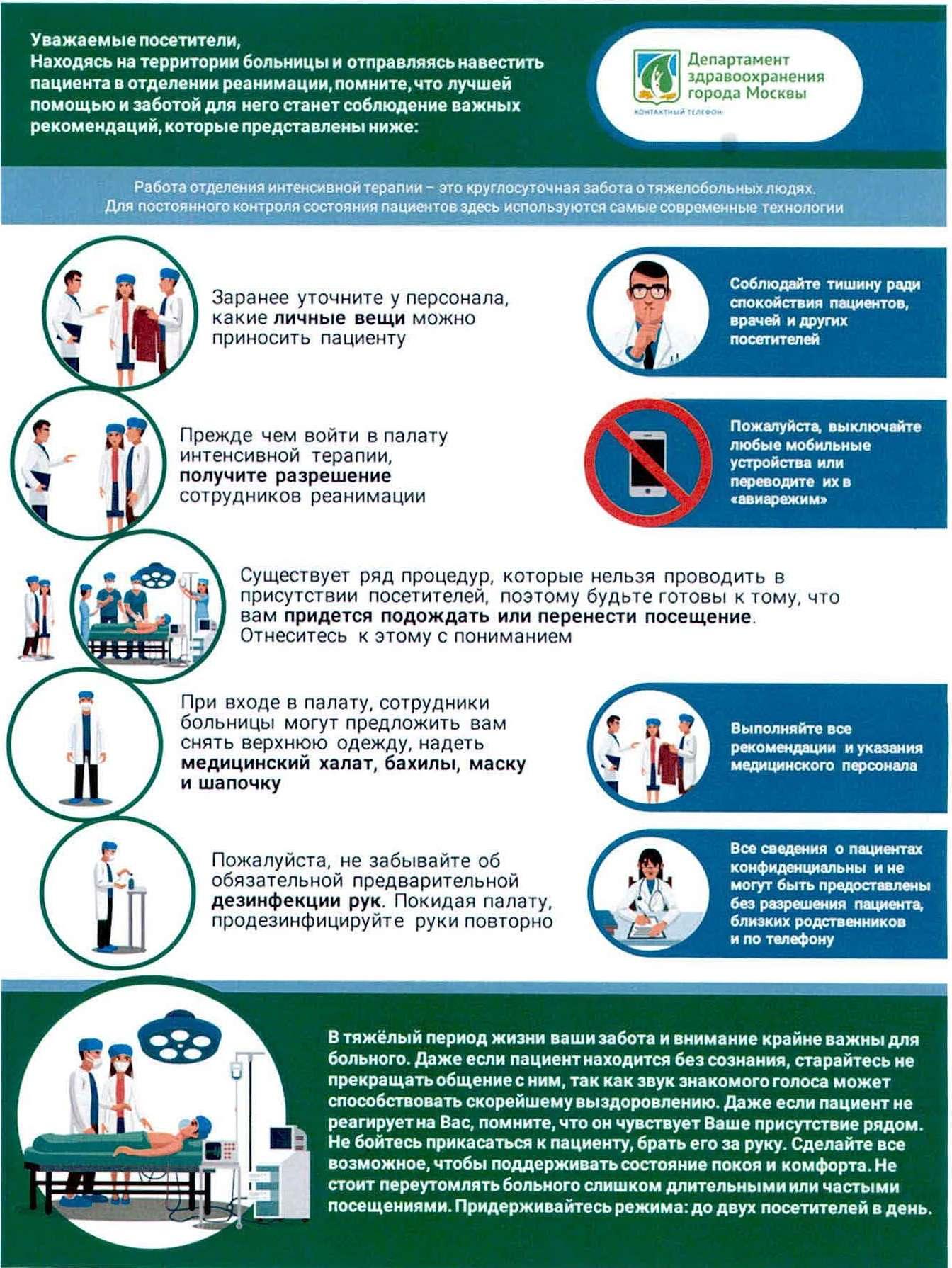 Памятка Департамента здравоохранения города Москвы. В ней говорится, что при посещении пациентов в реанимации и интенсивной терапии необходимо снимать верхнюю одежду, а также выполнять требования медработников